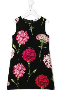 Dolce & Gabbana Kids Vestido Reto Com Estampa Floral - Preto