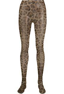 Dolce & Gabbana Meia-Calça Com Animal Print - Neutro