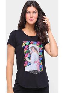 Camiseta Coca Cola Crossing Generations Feminina - Feminino-Preto