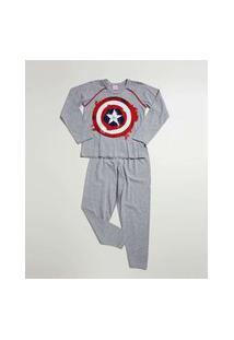 Pijama Infantil Capitão América Marvel Tam 4 A 10