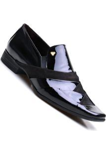Sapato Social Masculino Em Couro Com Verniz Calvest - Masculino-Preto