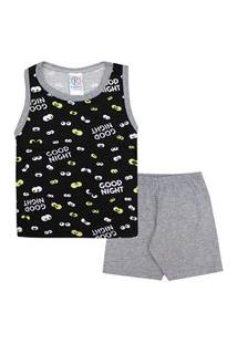 Pijama Bebê Masculino Regata Preta Olhinhos E Shorts (1/2/3) - Kappes - Tamanho 3 - Mescla,Preto