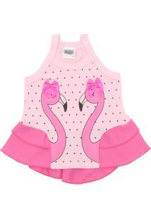 Camiseta Duzizo Menina Flamingo Rosa