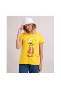 Camiseta De Algodão Lisa Os Simpsons Manga Curta Decote Redondo Amarela