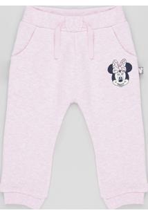 Calça Infantil Minnie Em Moletom Felpado Rosa