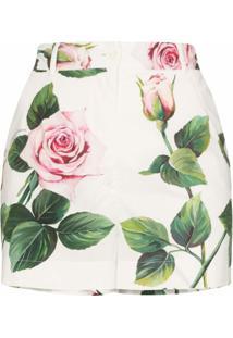 Dolce & Gabbana Short Cintura Alta Om Estampa De Rosas - Branco
