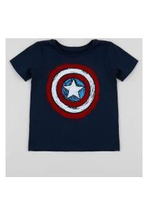 Camiseta Infantil Capitão América Manga Curta Gola Careca Azul Marinho