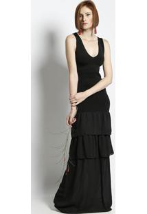 Vestido Longo Com Babados - Preto - Puscopusco