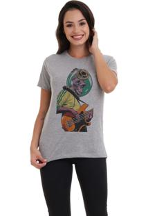 Camiseta Basica Joss Monkey Rock Cinza Mescla