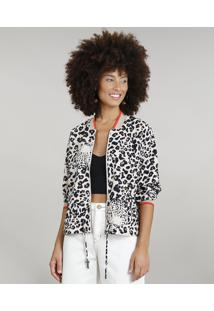Jaqueta Bomber Feminina Dress To Estampada Animal Print Manga Longa Bege Claro
