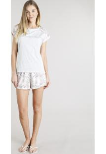 Pijama Feminino Com Estampa Floral Manga Curta Cinza Mescla Claro