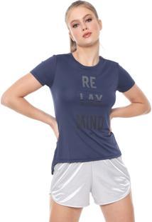 Camiseta Alto Giro Tule Recorte Azul-Marinho