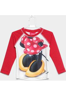 Camiseta Infantil Tip Top Manga Longa Minnie Menina - Feminino-Vermelho