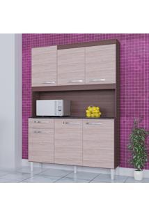 Cozinha Compacta 6 Portas 1 Gaveta Kit Carine 466 Capuccino/Amêndoa - Poquema