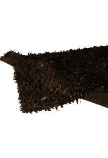 Tapete Decorativo De Couro Shaggi Preto Médio
