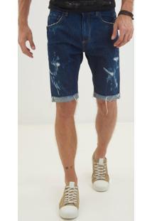 Bermuda John John Classica Sanibel 3D Jeans Azul Masculina (Jeans Escuro, 36)