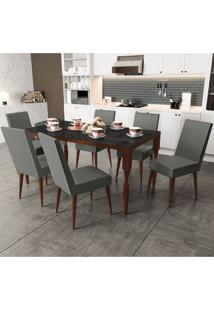 Mesa De Jantar Com 6 Cadeiras Csj157Waf Veludo – Kappesberg - Gold Liso