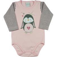 639ab18f7 Body Bebê Suedine E Listrado Garden Pinguim Ano Zero - Feminino-Rosa