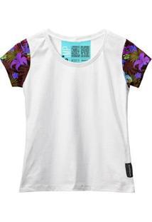 Camiseta Baby Look Feminina Algodão Estampa Flor Conforto - Feminino-Branco+Roxo