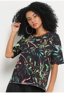 Camiseta Sommer Selva Feminina - Feminino-Marinho