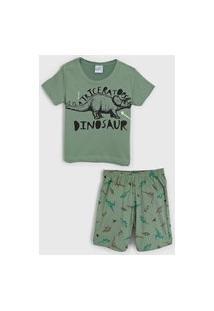 Pijama Abrange Curto Infantil Dinossauro Verde