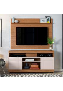 Rack Yara Com Painel Para Tv Maia Até 47 Polegadas Natura E Off White