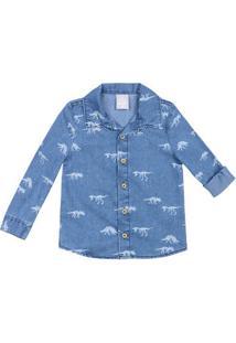 Camisa Jeans Infantil Menino Estampada Toddler Hering Kids