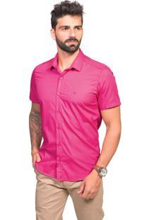 Camisa Manga Curta Tony Menswear Slim De Algodão Pink