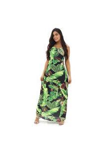 Vestido Longo Florido De Alcinha Feminino Estampado Verão