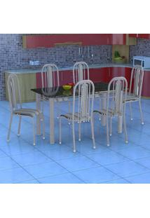 Conjunto De Mesa Com 6 Cadeiras Granada Prata E Preto Listrado Gr