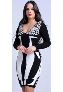 Vestido Curto Tricot Decotado Estampado Preto