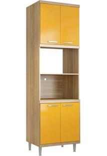 Paneleiro Duplo 4 Portas Para Forno/Micro-Ondas 5120 Sem Vidro Na Cor Argila/Amarelo - Multimóveis