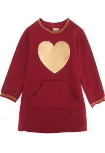 Vestido Milon Infantil Coração Vinho