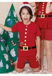 Pijama Vermelho Natal Com Touca Menino