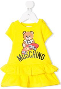 Moschino Kids Vestido Teddy Bear Com Amarração - Amarelo