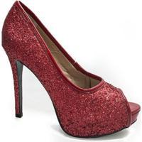 e4bf69af7a Peep Toe Glitter Sapato Show - Feminino-Vermelho Claro