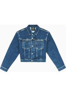 Jaqueta Jeans Fem Cropped Omega Ck50 - Azul Escuro Jaqueta Jeans Fem Cropped Omega Ck50 - Azul Escuro - P