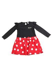 Vestido Manga Longa - Preto Com Vermelho E Poás Brancos - Minnie Mouse - Disney