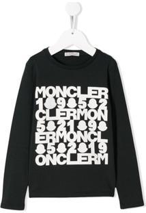 Moncler Kids Blusa De Jersey Com Estampa De Logo - Preto