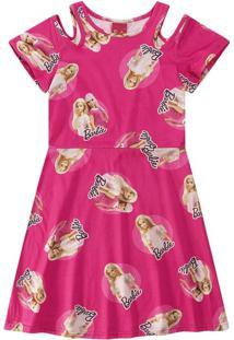 Vestido Evasê Barbie® Menina Malwee Kids Rosa Escuro - 4