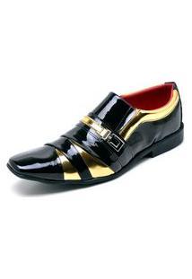 Sapato Social Top Franca Shoes Verniz Preto / Dourado