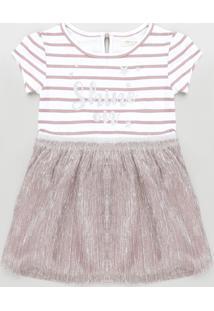 Vestido Infantil Listrado Com Brilho Manga Curta Rosê