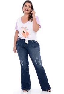 T-Shirt Domenica Solazzo Florescer Roxo Plus Size