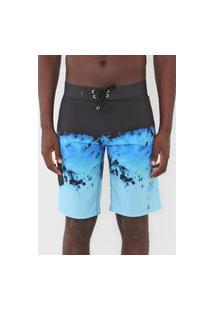 Bermuda Água Quiksilver Reta Everyday Ranger 21 Tie Dye Preta/Azul