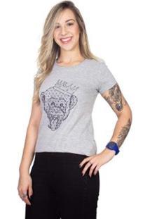 Camiseta 4 Ás Manga Curta Macaco Feminina - Feminino-Cinza