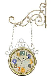 Relógio De Decoração De Parede Com Suporte Face Dupla Retrô Vintage Estação De Trem Wold Map 1878 R3P Import