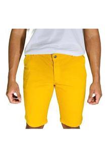 Bermuda Casual Plaquê Sarja Lisa - Amarelo