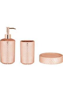 Conjunto Para Banheiro Bolhas 3 Peças Rose