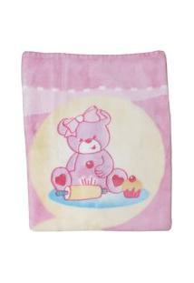 Cobertor Jolitex Raschel Plus Infantil Rosa