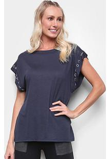 Camiseta Colcci Lettering Feminina - Feminino-Azul